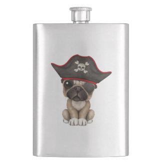 Cute Pug Puppy Pirate Hip Flask
