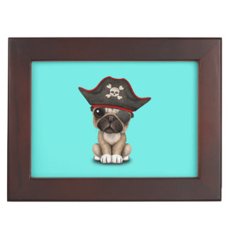 Cute Pug Puppy Pirate Keepsake Box
