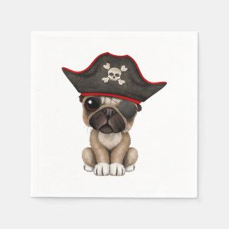 Cute Pug Puppy Pirate Paper Serviettes