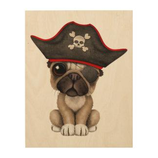 Cute Pug Puppy Pirate Wood Wall Art