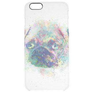 Cute pug puppy watercolor splatters  paint