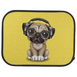 Cute Pug Puppy Wearing Headphones Car Mat