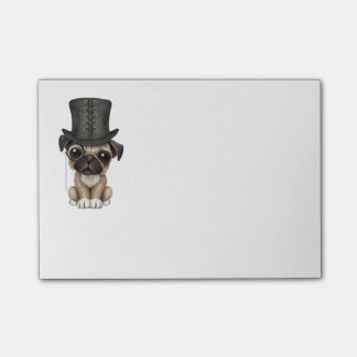 Cute Pug Puppy with Monocle and Top Hat Post-it Notes