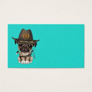 Cute Pug Puppy Zombie Hunter Business Card