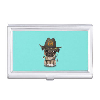 Cute Pug Puppy Zombie Hunter Business Card Holder