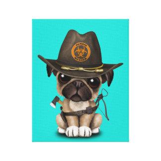 Cute Pug Puppy Zombie Hunter Canvas Print