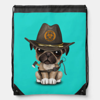 Cute Pug Puppy Zombie Hunter Drawstring Bag