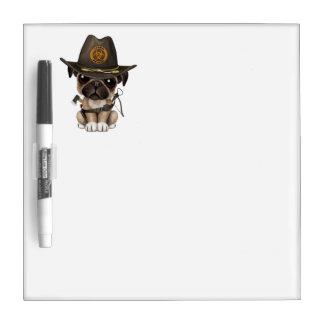 Cute Pug Puppy Zombie Hunter Dry Erase Whiteboard