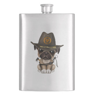 Cute Pug Puppy Zombie Hunter Hip Flask
