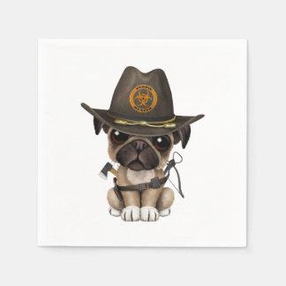 Cute Pug Puppy Zombie Hunter Paper Napkin