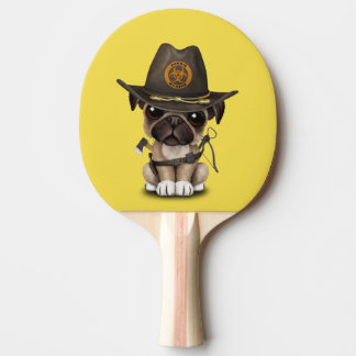 Cute Pug Puppy Zombie Hunter Ping Pong Paddle