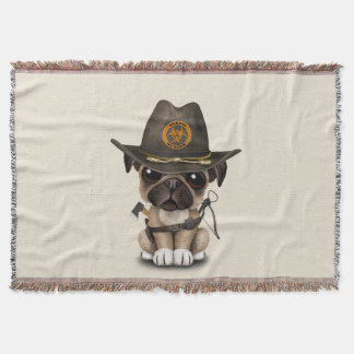 Cute Pug Puppy Zombie Hunter Throw Blanket
