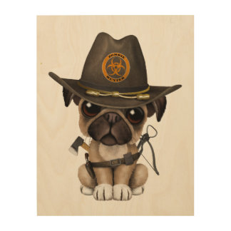 Cute Pug Puppy Zombie Hunter Wood Print