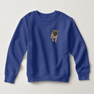Cute Pug Toddler Fleece Sweatshirt -Blue