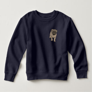 Cute Pug Toddler Fleece Sweatshirt -Navy