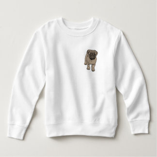 Cute Pug Toddler Fleece Sweatshirt -White