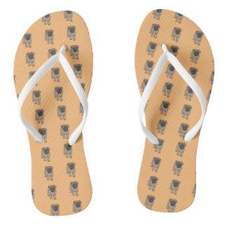 Cute Pug White Strap Flip Flops -Orange Thongs