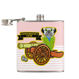 Cute Pug With A Cannon Hip Flask