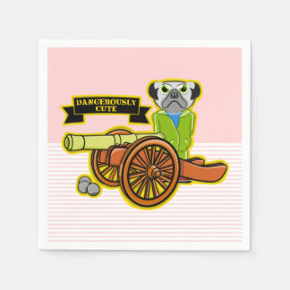 Cute Pug With A Cannon Paper Napkin