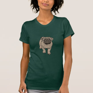 Cute Pug Women's Fitted T-Shirt - Forest Green