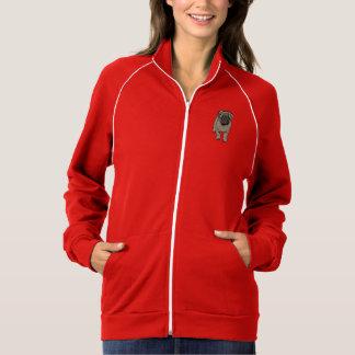 Cute Pug Women's Fleece Track Jacket -Red