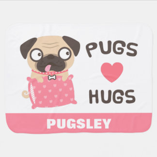 Cute Pugs Love Hugs Personalized Dog Blanket