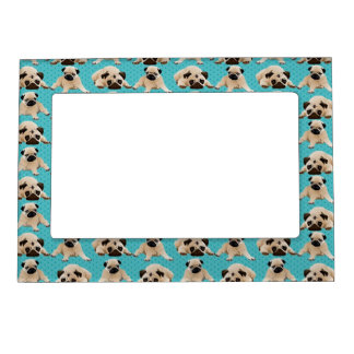 Cute Pugs on Green Dots Magnetic Frame