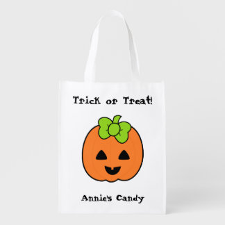 Cute Pumpkin Jack O' Lantern with Bow Market Tote