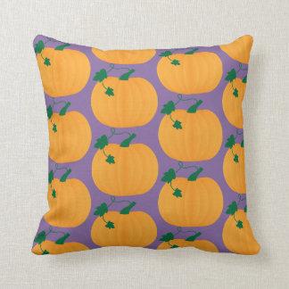 Cute Pumpkin Pattern on Purple Background Cushion