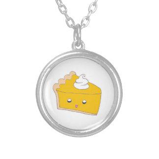 Cute Pumpkin Pie Slice Round Pendant Necklace