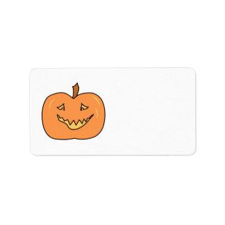Cute Pumpkin, Smiling. Halloween. Address Label