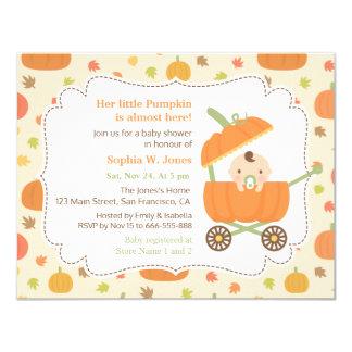 Cute Pumpkin Stroller Fall Baby Shower Invitations