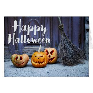 Cute Pumpkins Witch Broom Happy Halloween Card