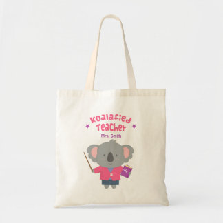 Cute Pun Humor Koala Bear Female Teacher Budget Tote Bag