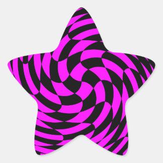 Cute punk fuscia and black abstract star sticker