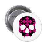 Cute punk goth fanged skull hot pink and black button