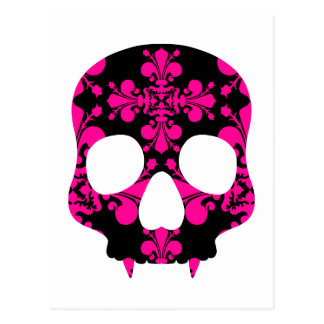 Cute punk goth fanged skull hot pink and black postcard