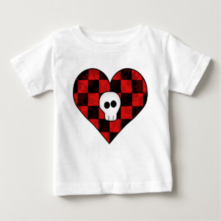 Cute punk goth skull in red checkered heart baby T-Shirt