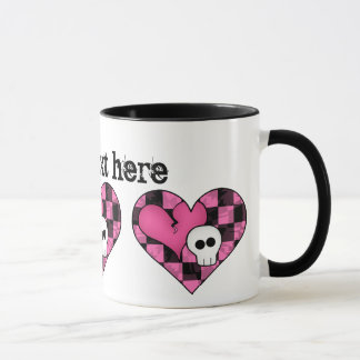 Cute punk hot pink and black heart and skull mug