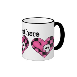 Cute punk hot pink and black heart and skull mugs