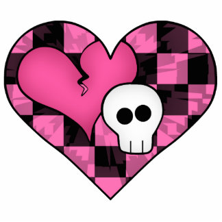 Cute punk hot pink and black heart and skull photo sculptures