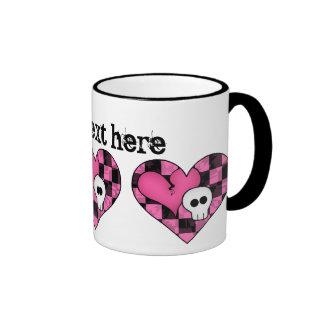 Cute punk hot pink and black heart and skull ringer mug