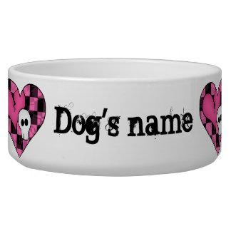 Cute punk hot pink and black hearts and skulls pet bowl