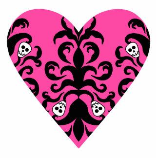 Cute punk hot pink heart with skulls photo sculpture magnet
