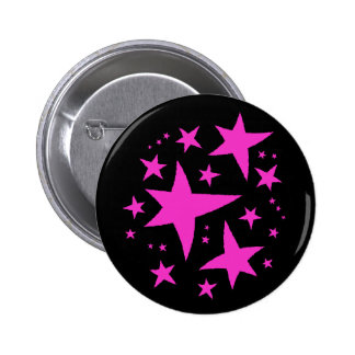Cute punk hot pink stars on black 6 cm round badge