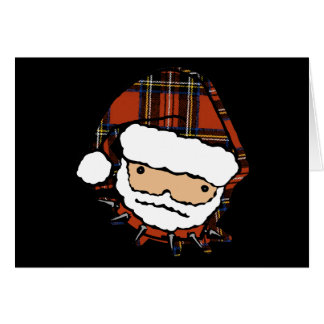 Cute Punk Plaid Santa Card