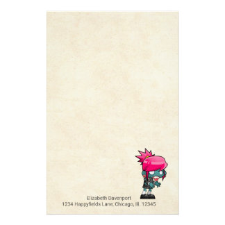 Cute Punk Rock Zombie Girl Illustration Stationery Design