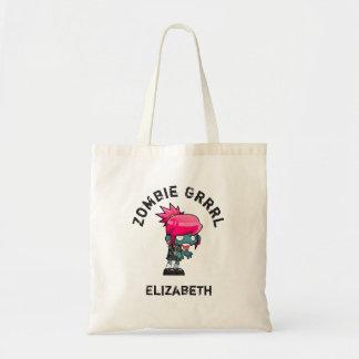 Cute Punk Rock Zombie Grrrl Personalized Tote Bag