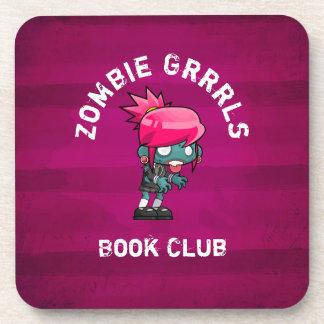 Cute Punk Rock Zombie Grrrls Book Club Beverage Coasters
