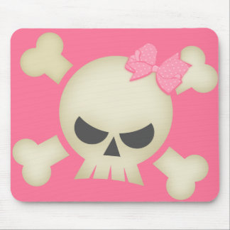 Cute Punk Skull and Bow (pink) Mousepad